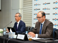 Ahmed Rahhou (à-g), PDG du CIH lors de la conférence de presse du groupe bancaire Crédit immobilier et hôtelier le 24 février à Casablanca. MAP