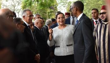 Meriem Bensalah-Chaqroun, présidente la la Confédération générale des entreprises du Maroc (CGEM) en tournée africaine avec Mohammed VI. RNA